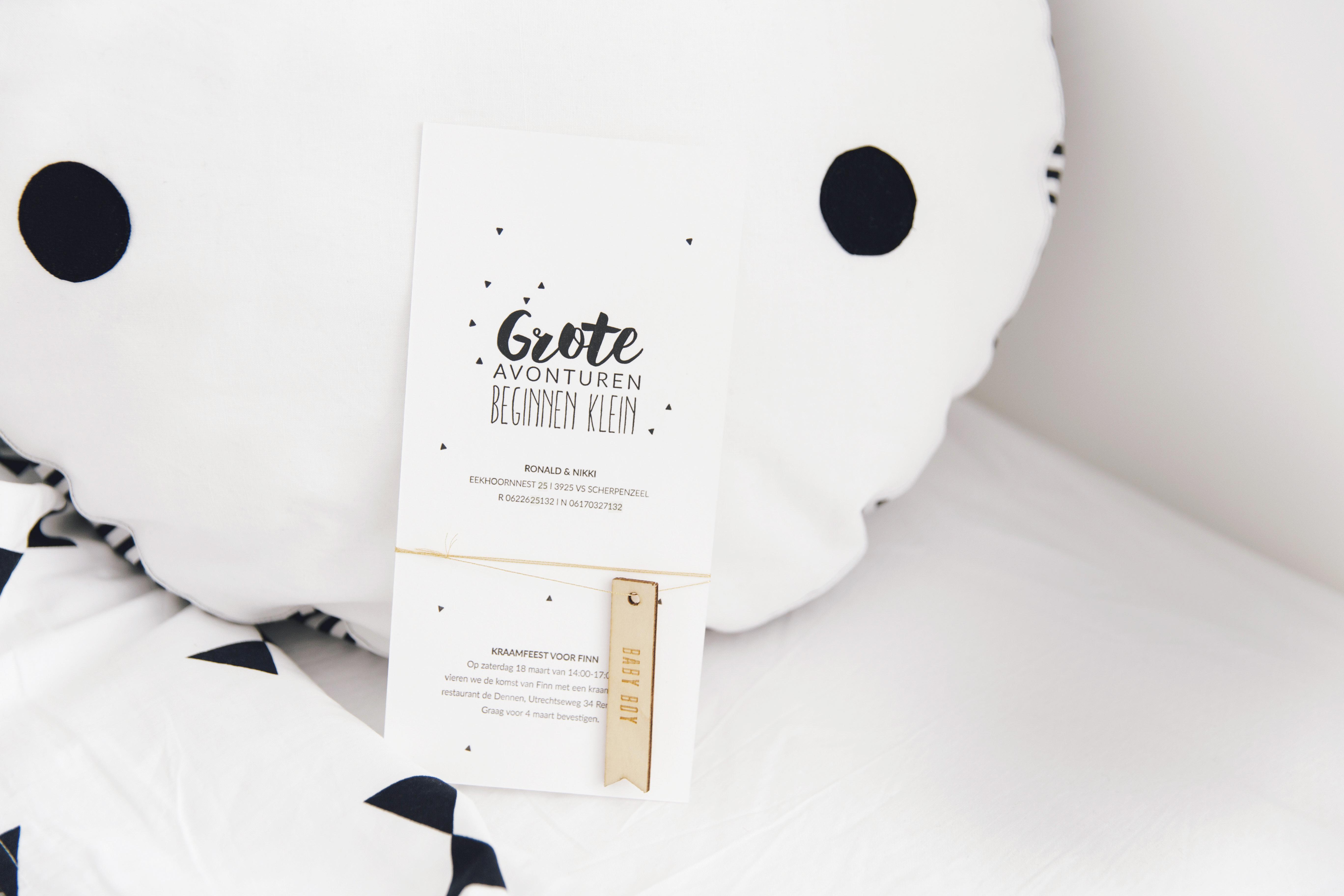 geboortekaartje zwart wit / at hello